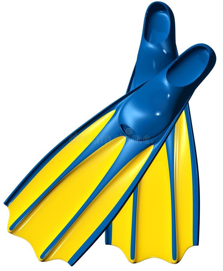 Aletas de nadada com borracha azul e plástico amarelo ilustração royalty free