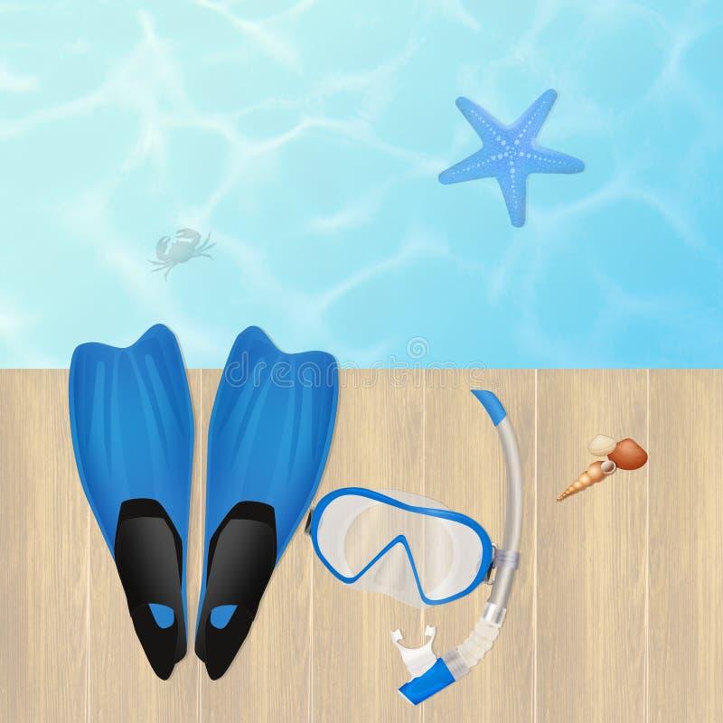 Aletas e máscara para mergulhar ilustração do vetor