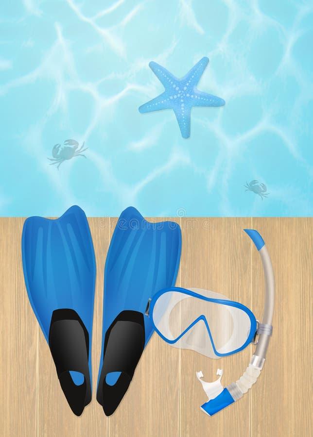 Aletas e máscara para mergulhar ilustração royalty free