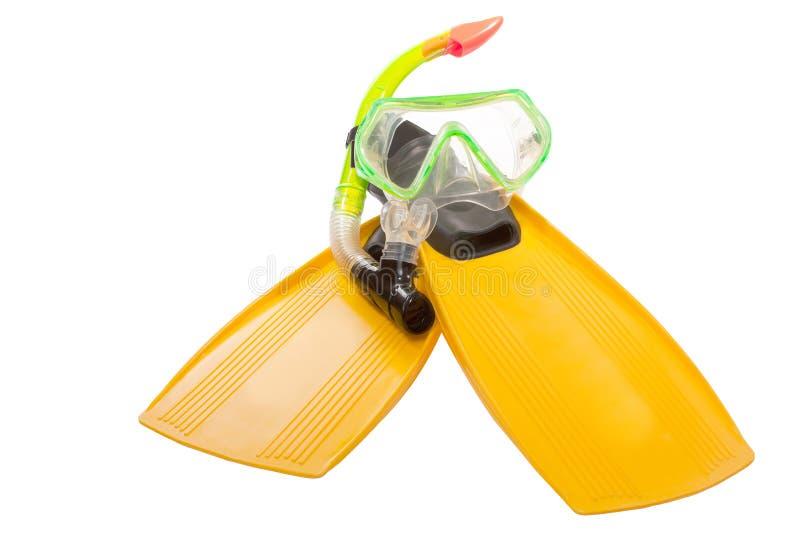 Aletas e máscara para um mergulho autônomo imagem de stock royalty free