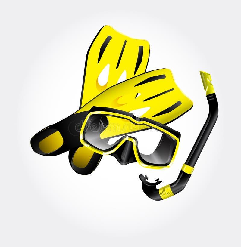 Aletas, máscara do mergulhador e snorkel ilustração stock