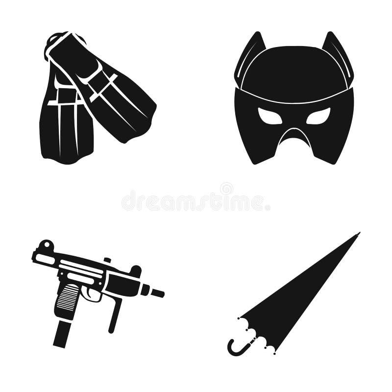 Aletas, máscara e o outro ícone da Web no estilo preto Automático, ícones do guarda-chuva na coleção do grupo ilustração do vetor