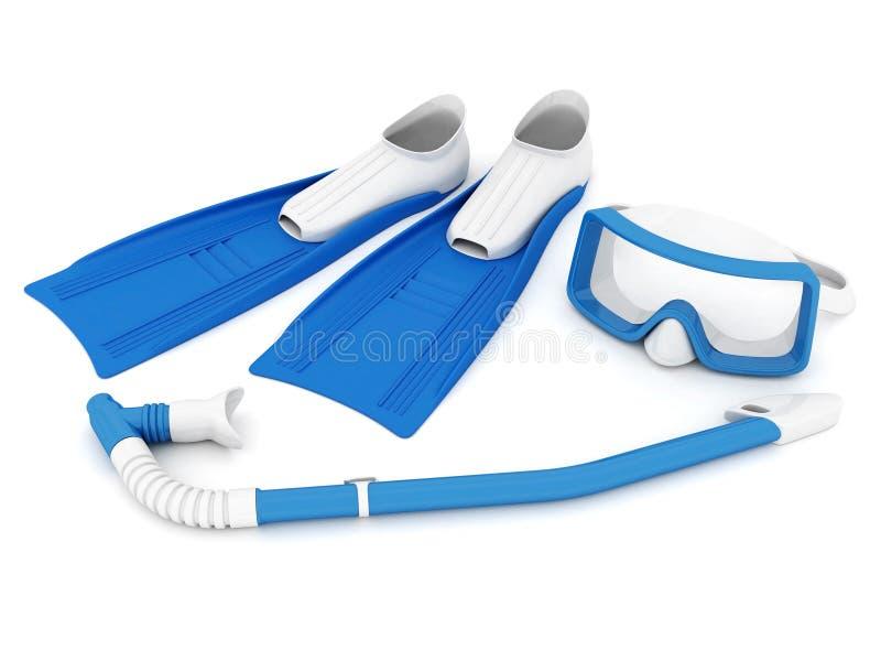 Aletas, máscara e tubo de respiração ilustração stock