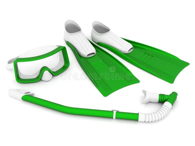 Aletas, máscara e tubo de respiração ilustração do vetor