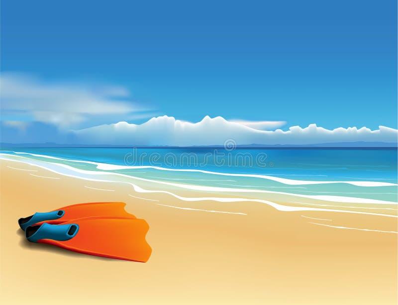 Aletas na praia ilustração royalty free
