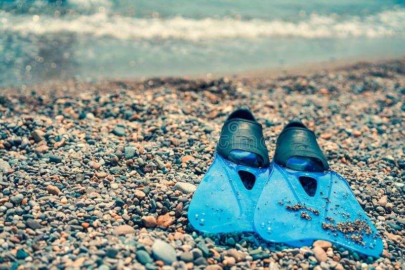 Aletas nos seixos na costa de mar foto de stock royalty free