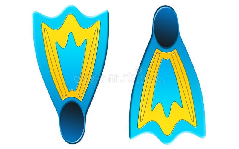 Aletas para mergulhar Equipamento do mergulhador isolado no fundo branco ilustração do vetor