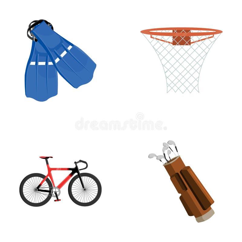 Aletas para nadar, cesta do basquetebol, rede, competência holograph, saco de golfe Ícones ajustados da coleção do esporte no est ilustração stock