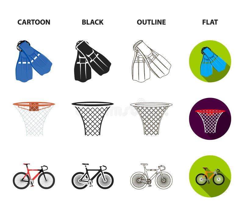 Aletas para nadar, cesta do basquetebol, rede, competência holograph, saco de golfe Ícones ajustados da coleção do esporte nos de ilustração royalty free