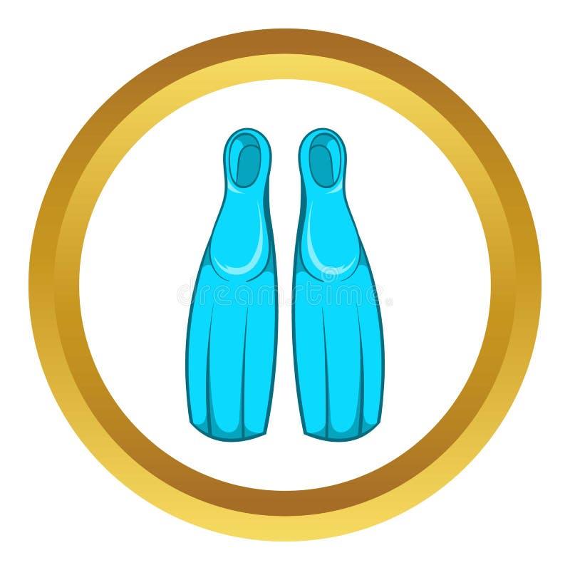 Aletas para o ícone de mergulho ilustração stock