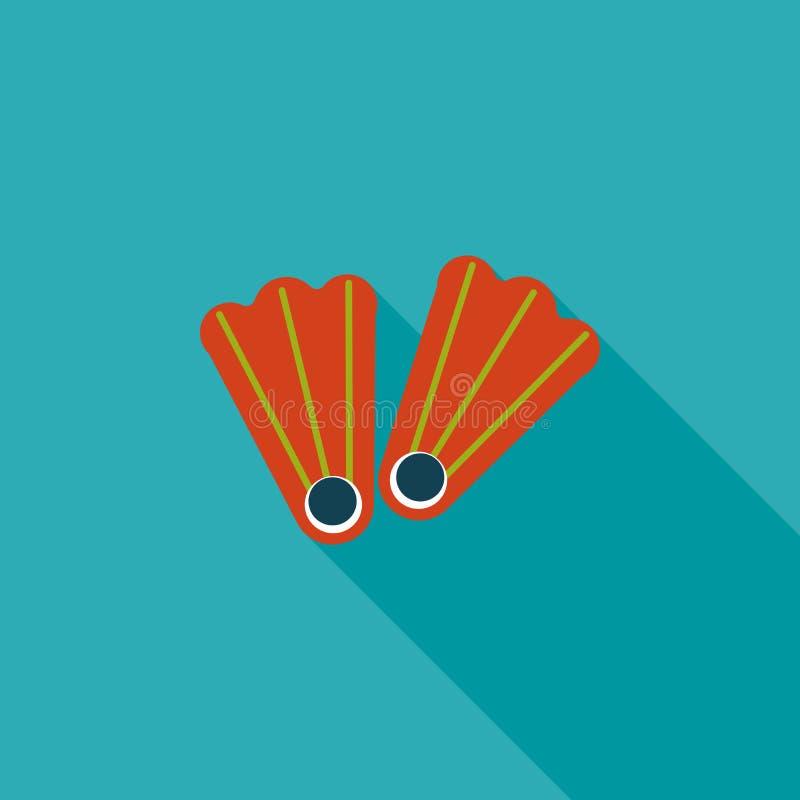 Aletas para o ícone liso de mergulho com sombra longa ilustração stock
