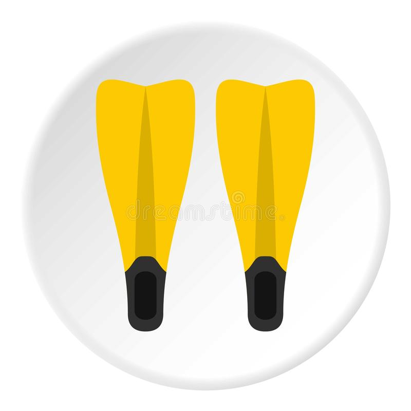 Aletas para o círculo de mergulho do ícone ilustração do vetor