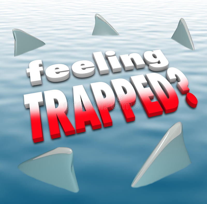 Aletas prendidas de sentimento do tubarão das palavras que circundam o oceano ilustração royalty free