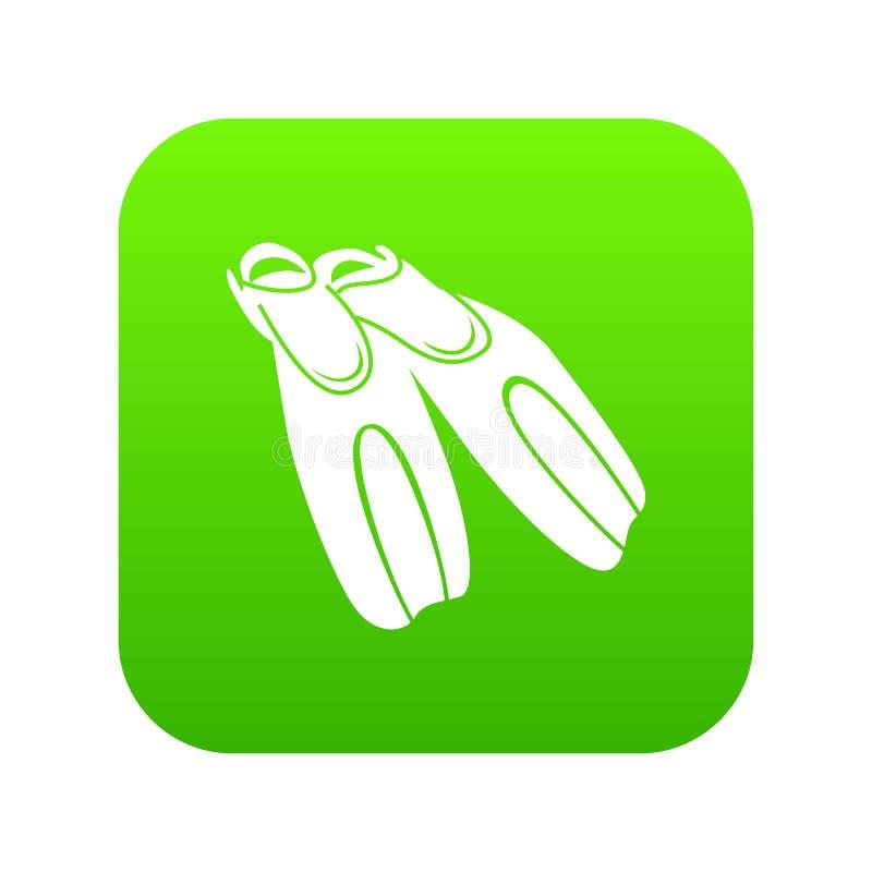 Aletas pretas para o vetor de mergulho do verde do ícone ilustração royalty free
