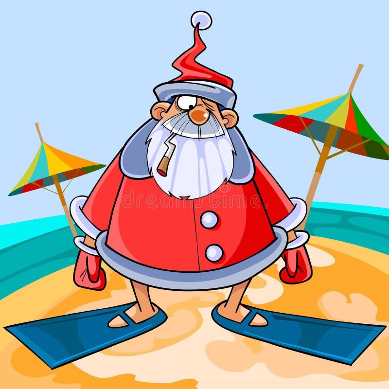 Aletas vestindo de Santa Claus dos desenhos animados engraçados na praia ilustração stock