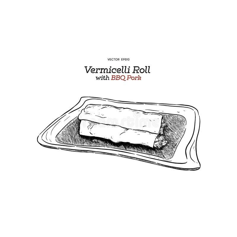 A aletria rola com carne de porco do BBQ ilustração do vetor