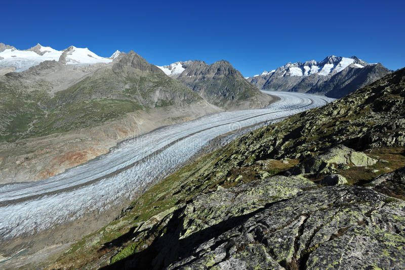 Aletsch Glacier. And the summits of Fiescher Gabelhorn, Schoenbuehlhorn, Gross Wannenhorn and Klein Wannenhorn in Valais, Switzerland on a bright morning royalty free stock photography