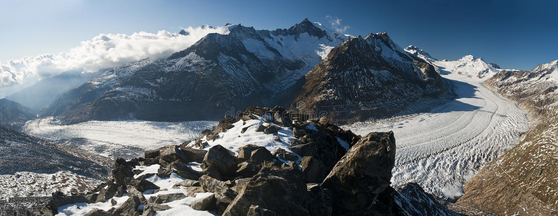 Aletsch glacier. Seen from Eggishorn peak in the Swiss alps stock image