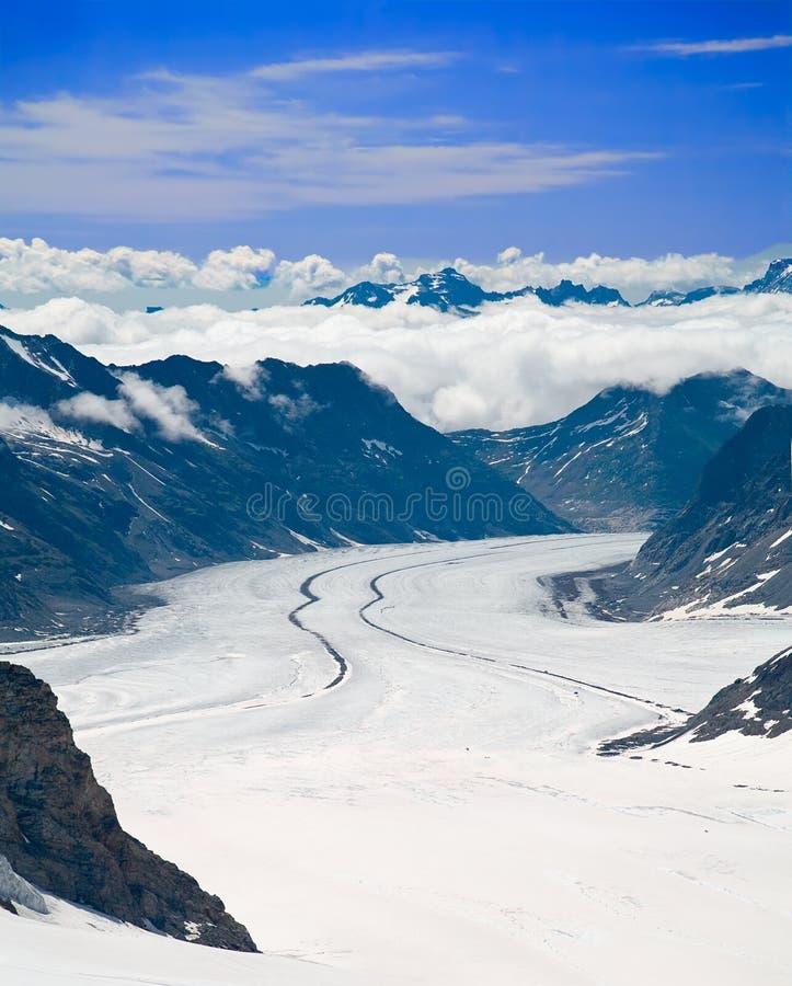 Aletsch Glacier in the Alps, Switzerland stock photos
