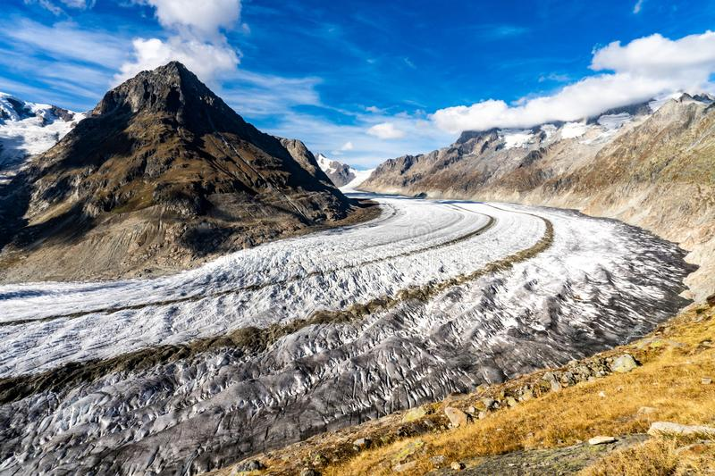 Aletsch Glacier in the Alps in Switzerland. The Aletsch Glacier in Switzerland is the longest glacier of the Alps, with over 23 kilometers in length. The ice royalty free stock photography