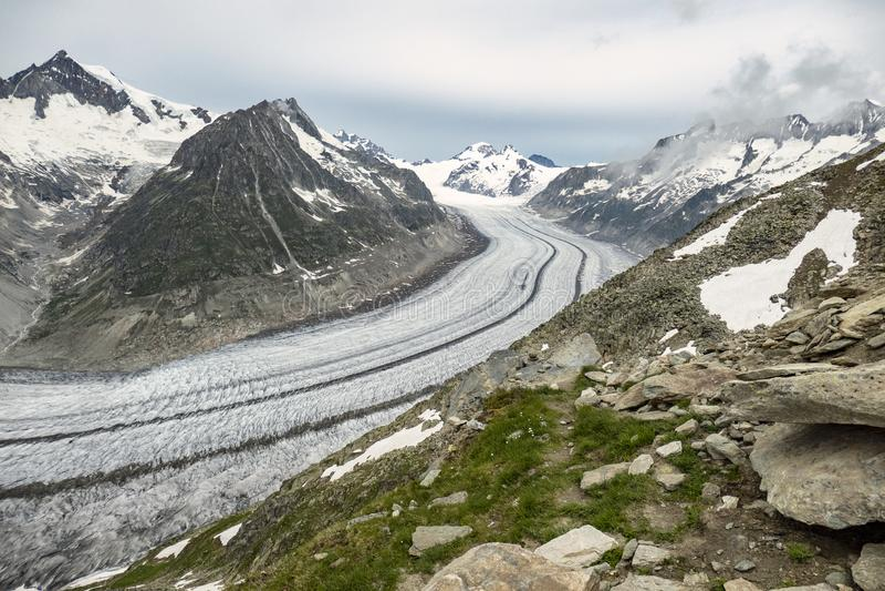 Aletsch Glacier from Eggishorn royalty free stock photos