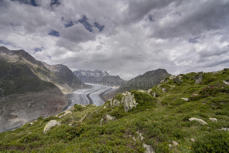 Aletsch glacier. Glaciers are melting at an alarming rate as seen in Aletsch glacier, Valais, Switzerland stock image