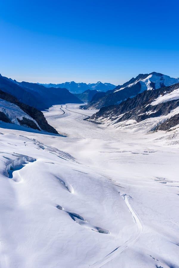 Aletsch glacier - ice landscape in Alps of Switzerland, Europe stock image