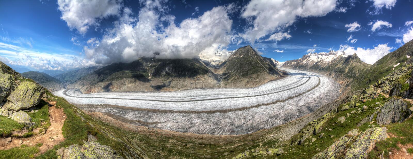 Aletsch glacier panorama HDR stock images