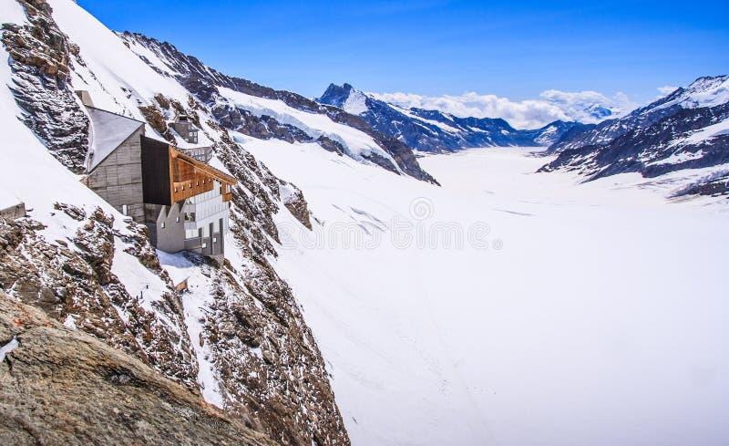 Aletschgletscher of Aletsch-gletsjer - ijslandschap in Zwitserse Alpiene Gebieden, Jungfraujoch-Post, de bovenkant van het statio royalty-vrije stock afbeelding