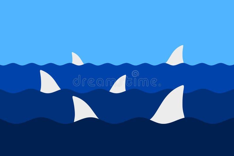 Aletta dello squalo nell'acqua illustrazione vettoriale