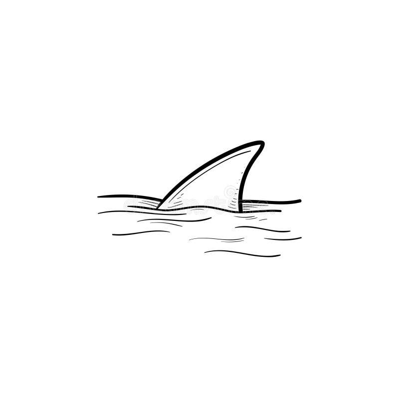Aletta dello squalo sopra l'icona disegnata a mano di scarabocchio del profilo dell'acqua royalty illustrazione gratis