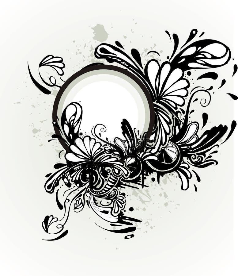Aletta di filatoio astratta floreale illustrazione vettoriale