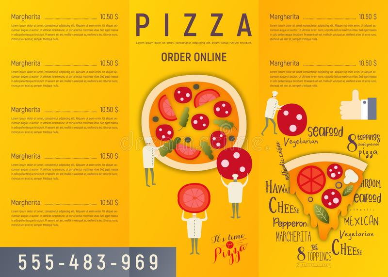Aletta di filatoio del menu della pizza illustrazione vettoriale