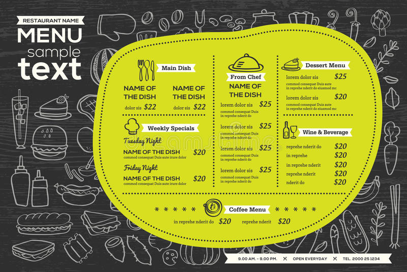 Aletta di filatoio dell'alimento di progettazione del modello del menu del caffè del ristorante illustrazione vettoriale