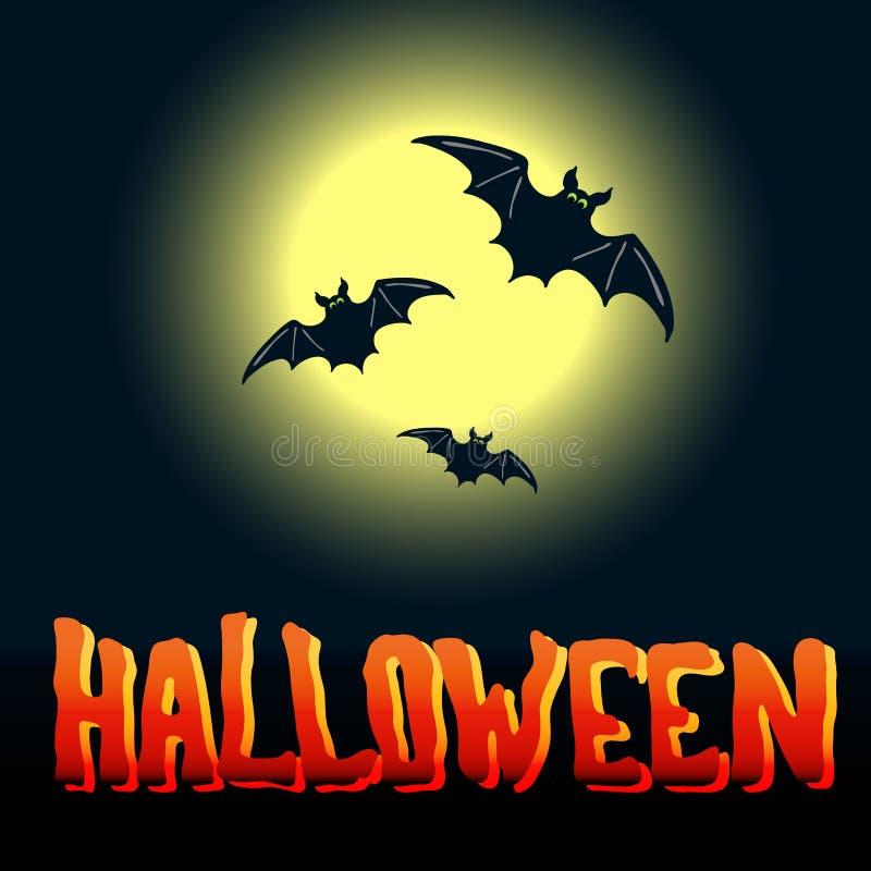 Aletta di filatoio di Halloween con i pipistrelli di volo e luna piena sopra il BAC di mezzanotte illustrazione vettoriale