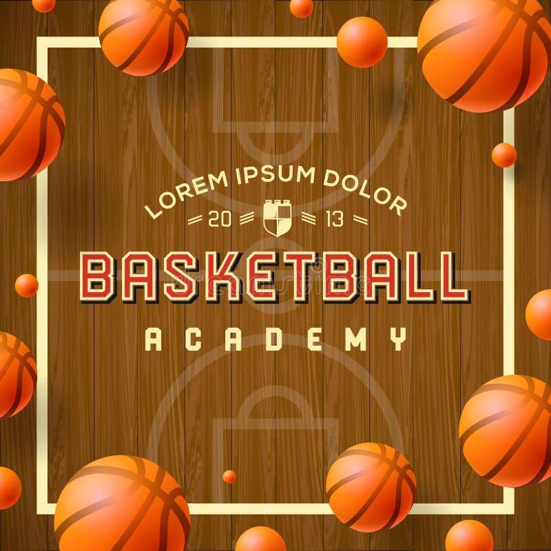 Aletta di filatoio o manifesto dell'accademia di pallacanestro royalty illustrazione gratis