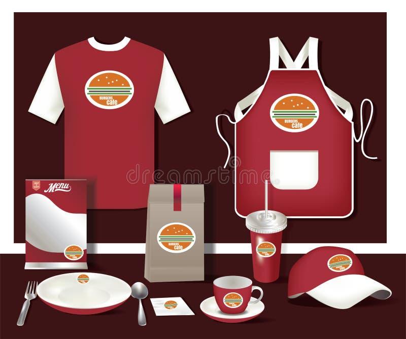 Aletta di filatoio stabilita del caffè del ristorante di vettore, menu, pacchetto, maglietta, cappuccio, u illustrazione vettoriale