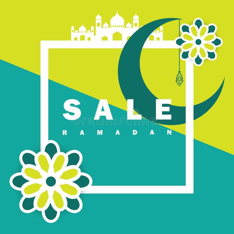 Aletta di filatoio, vendita, sconto, cartolina d'auguri, etichetta o occasione dell'insegna di Ramadan Kareem e di Eid Mubarak Ce illustrazione vettoriale