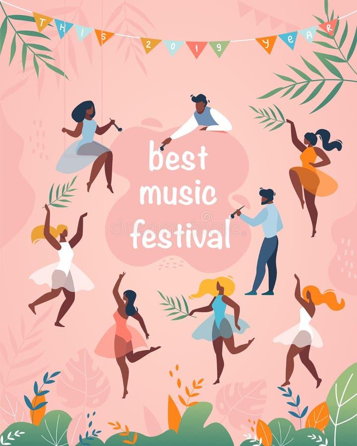 Aletta di filatoio verticale del cartello dell'insegna di migliore festival di musica illustrazione vettoriale