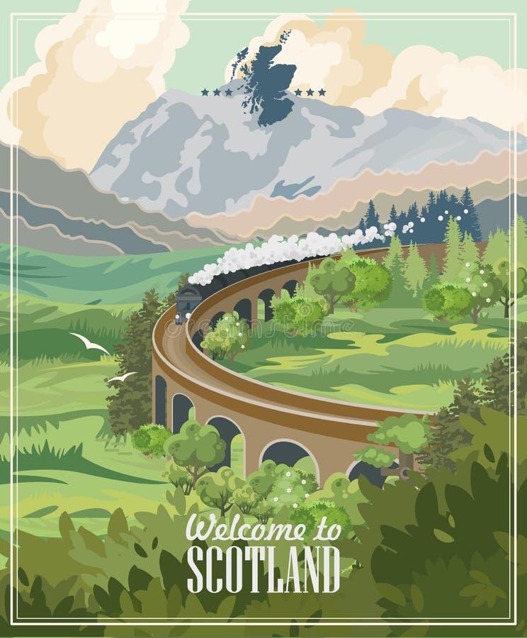 Aletta di filatoio di vettore di viaggio della Scozia nella progettazione leggera moderna Paesaggi scozzesi illustrazione vettoriale