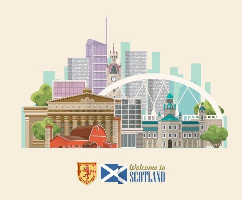 Aletta di filatoio di vettore di viaggio della Scozia nello stile moderno Paesaggi scozzesi royalty illustrazione gratis
