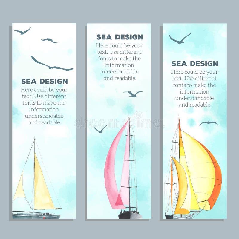 Alette di filatoio con le barche a vela dell'acquerello illustrazione di stock