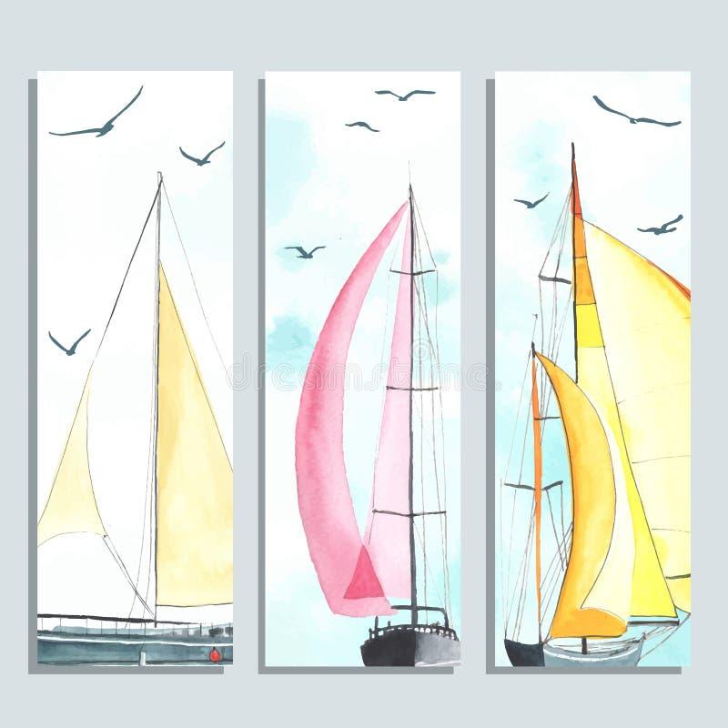 Alette di filatoio con le barche a vela dell'acquerello illustrazione vettoriale
