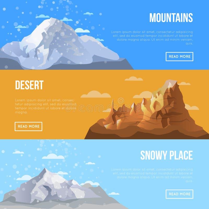 Alette di filatoio del paesaggio della montagna con gli alti picchi illustrazione di stock