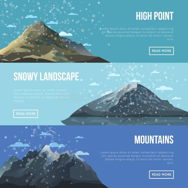 Alette di filatoio dell'agenzia di alpinismo con gli alti picchi illustrazione di stock
