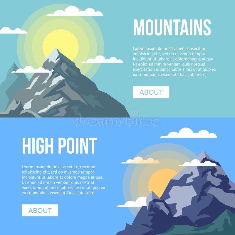 Alette di filatoio dell'agenzia di alpinismo con gli alti picchi royalty illustrazione gratis