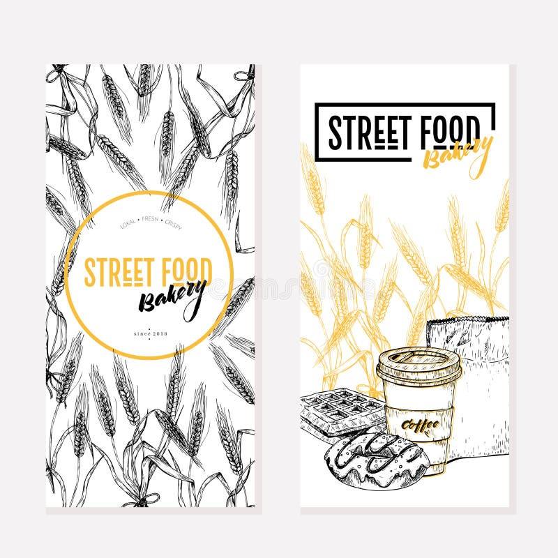 Alette di filatoio disegnate a mano del forno Insegna creativa dell'alimento della via Il grano barrels, cofee, ciambella, cialde illustrazione vettoriale