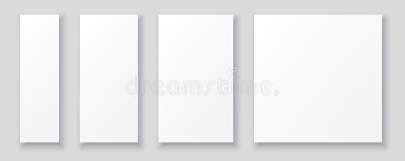 Alette di filatoio di Libro Bianco dello spazio in bianco e modelli dei manifesti nelle dimensioni differenti royalty illustrazione gratis
