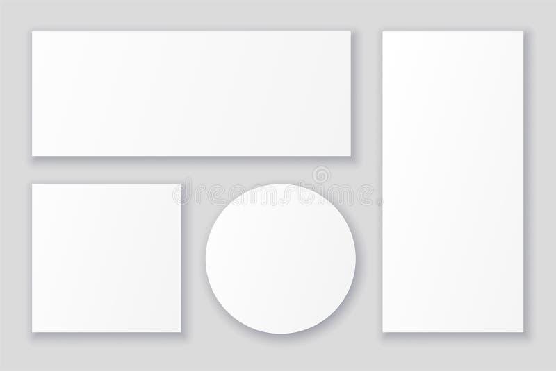 Alette di filatoio di Libro Bianco dello spazio in bianco e modelli dei manifesti nelle forme e nelle dimensioni differenti illustrazione vettoriale