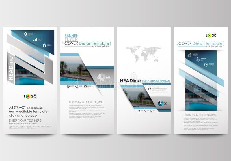 Alette di filatoio messe, insegne moderne Modelli di affari Modello di copertura Disposizione blu della decorazione di viaggio di illustrazione di stock